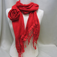 NEW  RED KNIT venise lace trimmed scarf / Perfect for Christmas valentine gifts stocking stuffers scarf for women by Catherine Cole Studio