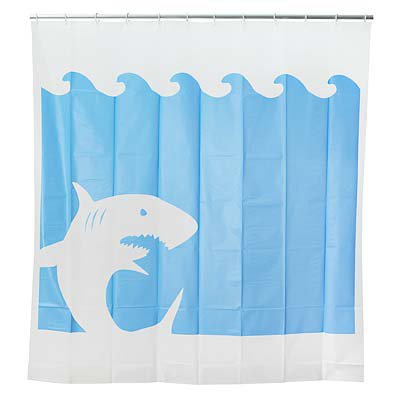 Jaws shower curtain shark shower from uncommongoods squeaky