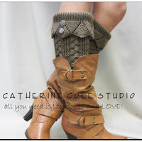 NEW hand knit look knit leg warmers in COFFEE brown w 2 antique metal lace buttons amazing quality leg warmers Catherine Cole Studio