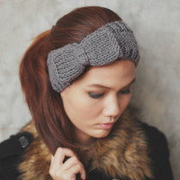Cute Bow Knit Headband - Grey