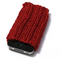 Knit Phone Cozy - iPhone Sleeve - Autumn Red - Acrylic Yarn