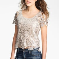 GREYLIN Lace Metallic Brushed Lace Top | Nordstrom