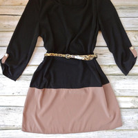 Belted Color Block Dress - Black/Tan | .H.C.B.