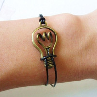 adjustable bronze bulb wrist bracelet simple bracelet leather bracelet women bracelet girls bracelet with bulb and black leather SH-1491