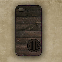 Monogramed Wood Texture Hardcse, with dark grey monogram - personalized Iphone 5 cover, Iphone 4s cover