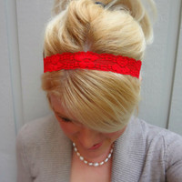 Classic red thin stretch lace headband feminine - romantic - classic