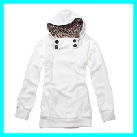 Womens Girls Hoodies Leopard Sweatshirt Top Outerwear Parka Coats 2 color O