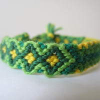 Braided Friendship Bracelet - Green and Gold