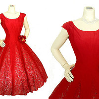Vintage 50s Red Taffeta Lace Gored Full Skirt Party Dress S M Stunning | eBay