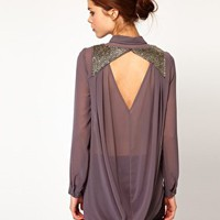 Warehouse Embellished Back Blouse at asos.com