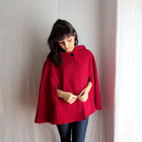 Little red riding hood - red cape wool cape winter fashion fairy tale cape coat