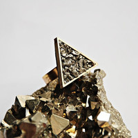 Pyrite Triangle Ring - Geometric Jewelry
