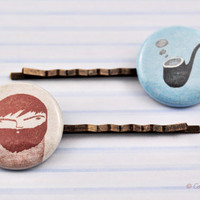 Bobby Pin Modern Picture, Antique Brass, Glass cabochon, Pastel Colors, Soft Blue