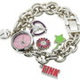Disney Women&#x27;s TK2022 Tinkerbell Pink Sunray Dial Charm Bracelet Watch: Watches: Amazon.com