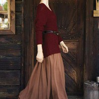 Khaki Chiffon Maxi Skirt. Autumn Winter Long Skirt from Letsglamup