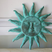 Cast Iron Sun Face Wall Decor - Green Verdigris
