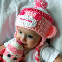 Toddler Hat Christmas Gifts Monkey Hats Sock Monkeys Pink Cap Kids Clothes Baby Hats Girls Clothes Christmas Hat Gift Ideas White Crochet