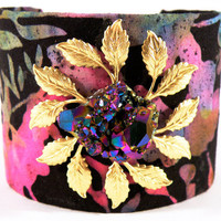 Floral Fantasy Stone Cuff Bracelet 