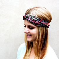 Turban Knotted Fashion Headband Rose, Black, Green, Cream