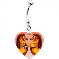 Heart With Horses Belly Ring