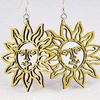 Sun Shine Earrings - Laser Cut from Reforested Wood