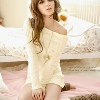 Sweet Bared Shoulder Long Sleeve Dresses Beige : Yoco-fashion.com