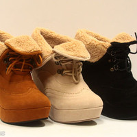 Women's Cute Round Toe Oxford Lace Up Platform Cuff Wedge Bootie Shoes NEW