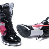 Lady Popular White Black Pink Nike Dunk High Heels