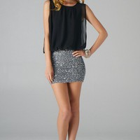 Black Sleeveless Dress with Silver Sequin Stretch Skirt