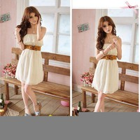 Japan Korea Women's Chiffon Lace Sexy Lady Casual Summer Mini Dress With Belt O