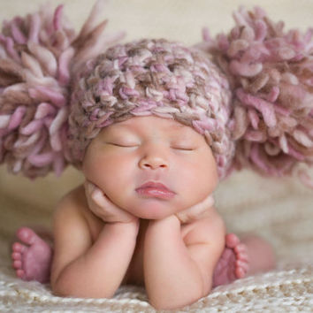 Baby Girl Hat Pom Pom Beanie Hat Infant Hat by chloescrochetcloset