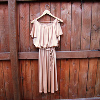 vintage buff flutter sleeveless dress. size S to M. size 5/6. pale gold flutter dress
