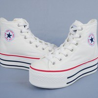 Maxstar C50 7-Holes Zipper Platform Sneakers White