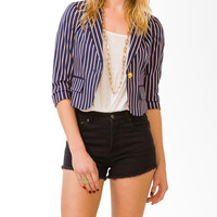 Pinstripe Notched Lapel Blazer