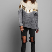 Rag Union x Urban Renewal Ombre Foiled Fisherman Sweater