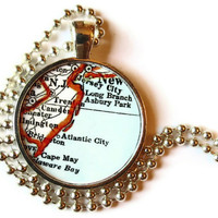 New Jersey necklace pendant charm, Atlantic City map necklace, map jewelry photo pendant