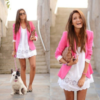 Fashion Candy Color Basic Slim Foldable Lapel Suit Jacket Blazer Coat XS S M L