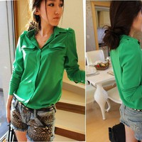 Sexy Women&#x27;s Candy Color Chiffon Button Down Shirts Blouses Shoulder Padded Tops