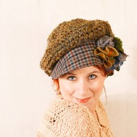 Green newsboy hat Blue green hat Chunky green hat Olive green hat Crochet chunky hat Green knit hat Woodland hat Big woman cap