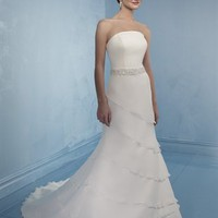 Gorgeous A-line Strapless Court Train Sleeveless Chiffon Wedding Dress-$435.98-ReliableTrustStore.com