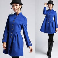 Blue winter coat with with Relief Button detail Christmas sales (400)