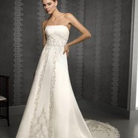 Exquisite A-line Strapless Court Train Sleeveless Satin Wedding Dress-$436.99-ReliableTrustStore.com