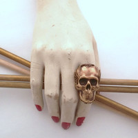 Skull Ring Brass Steampunk Goth Neo-Classical