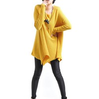 Round Neckline Padded Shoulder Long Sleeve Knit Slanting Coat: tidestore.com