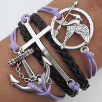The ancient silver arrows and hunger game parrot birds - the purple wax rope and black leather woven adjustable bracelet