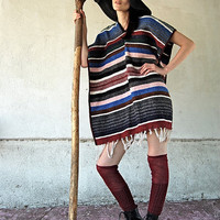 $38.00 Vintage Striped Mexicana Fringe Poncho Cloak by enidandedgar