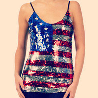 USA Sequin Flag Tank Blouse Pretty Red Silver Blue Shirt Top Fashion Trend S M L