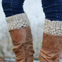 Womens Boot Cuffs // Boot Socks // Boot Toppers // Oatmeal // Puffy Boot Cuffs
