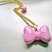 Pink Puffy Bow Kawaii Necklace Gothic Lolita by DinaFragola