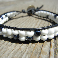 White and Black Beaded Leather Single Wrap Bracelet